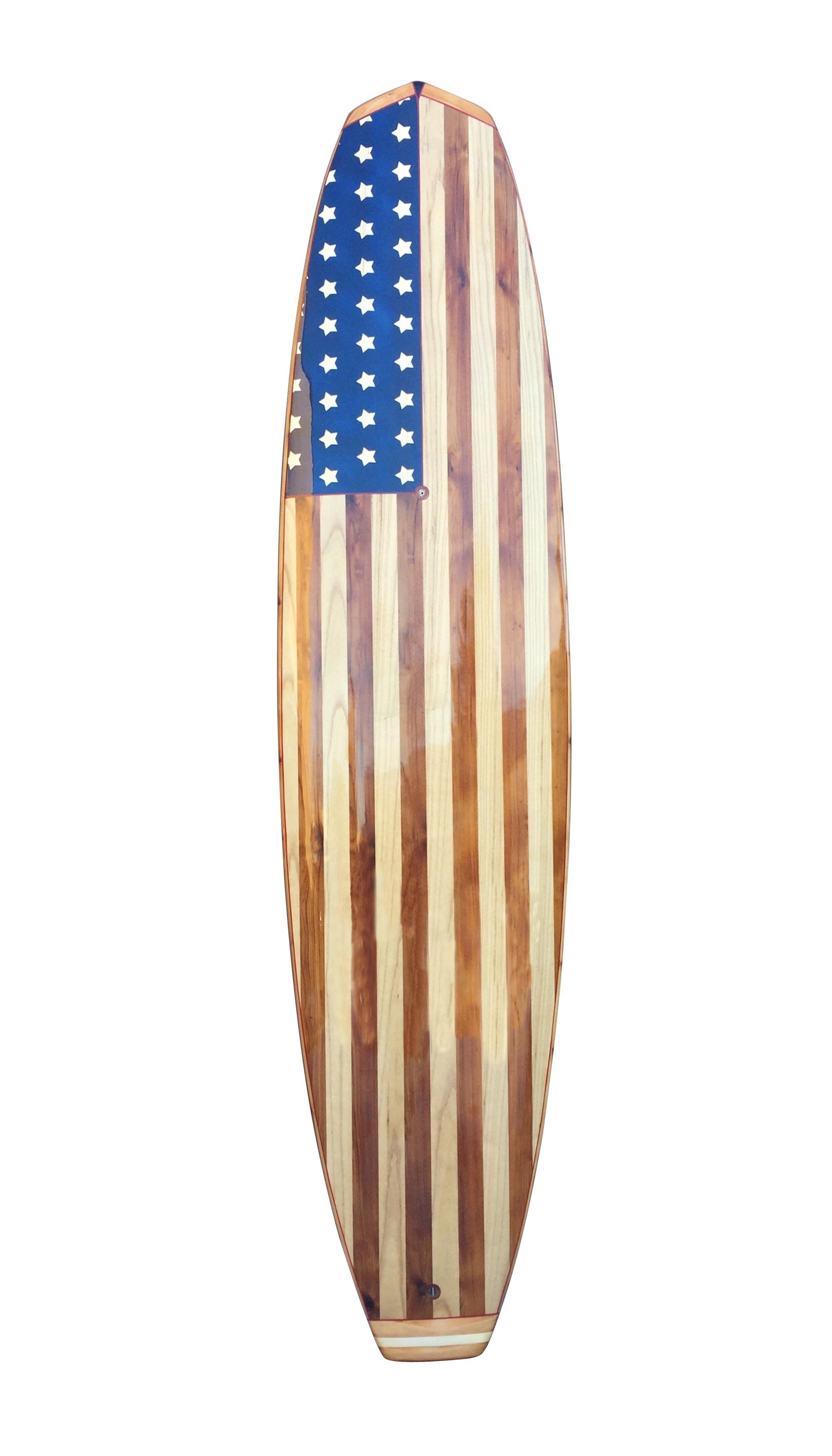 Handcrafted Wood Paddleboard USA Flag Board